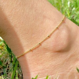 14KGF Anklet Faceted Beads Chain